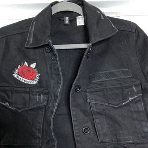 H M Jackets Coats Black Denim Jacket With Patches Poshmark